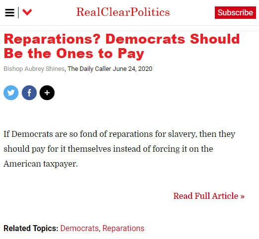 Reparations? Democrats should be the ones to pay