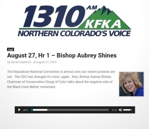 Bishop Aubrey Shines Appears on Mornings with Gail on Colorado's 1310 KFKA