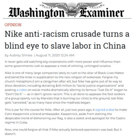 Washington Examiner Op-Ed: Nike anti-racism crusade turns a blind eye to slave labor in China