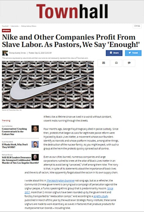 Bishop Shines in Townhall.com: Nike and Other Companies Profit From Slave Labor. As Pastors, We Say 'Enough!'