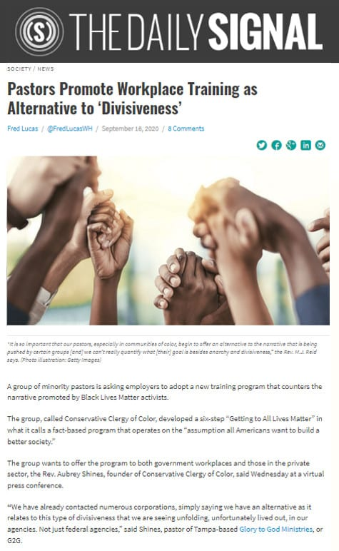 "Conservative Clergy of Color's New Diversity Training Alternative ""Getting to All Lives Matter"" Featured at The Daily Signal"